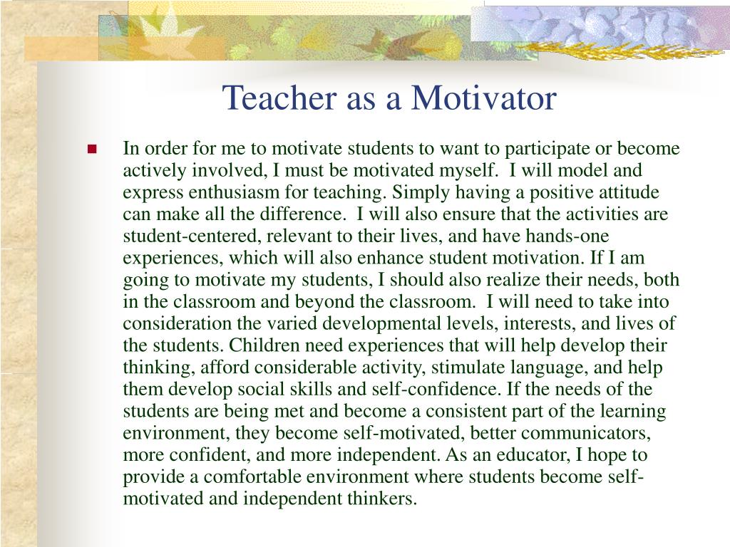 Teacher as a Motivator