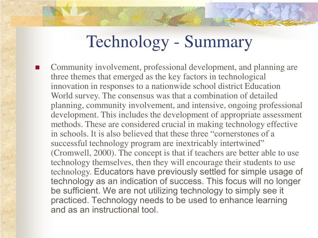 Technology - Summary