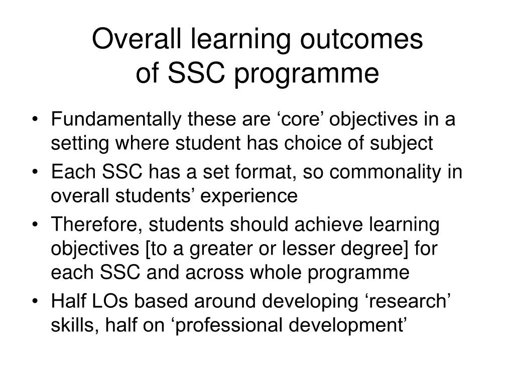 Overall learning outcomes