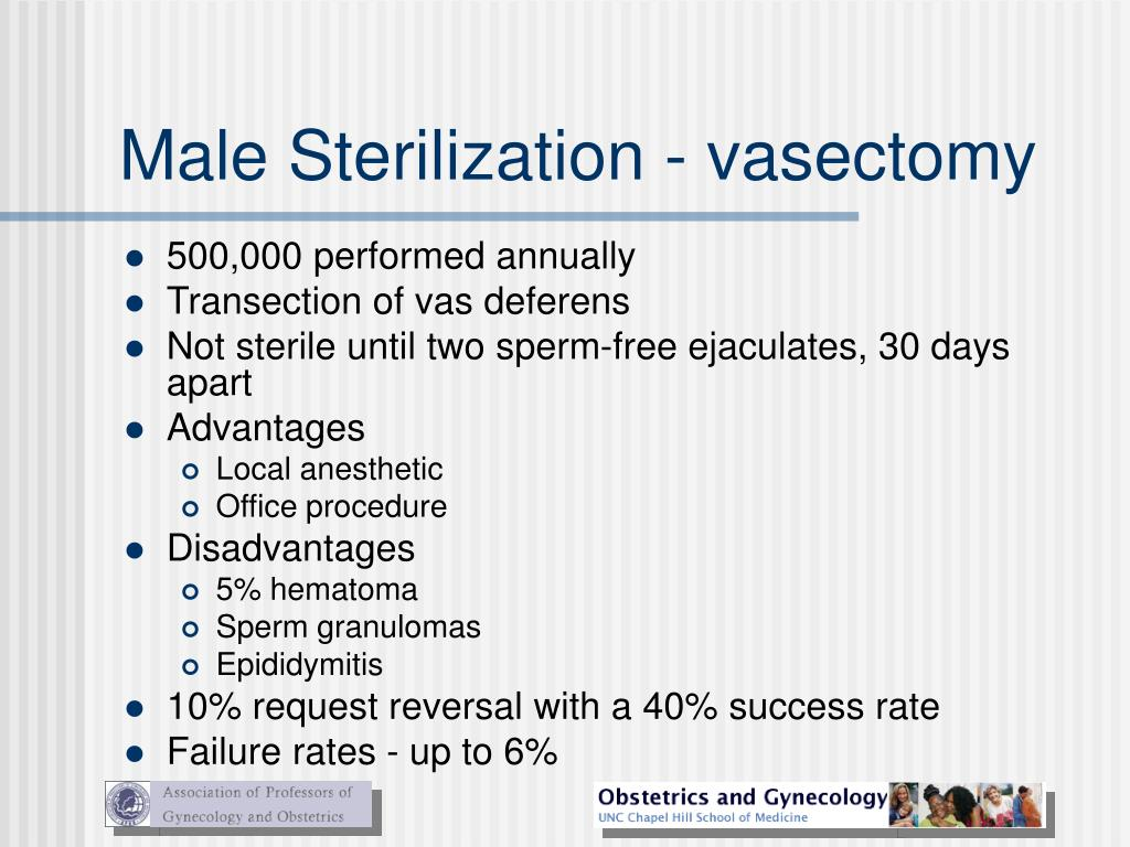 Male Sterilization - vasectomy