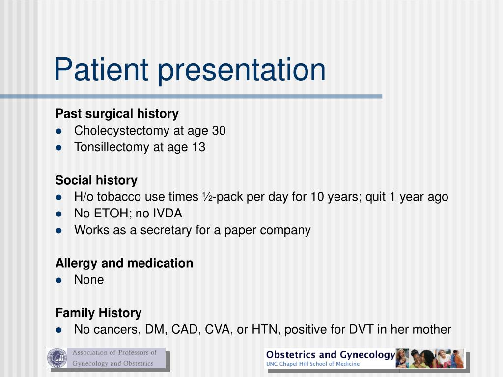 Patient presentation