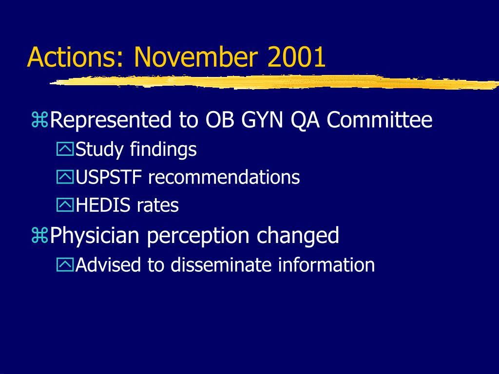 Actions: November 2001