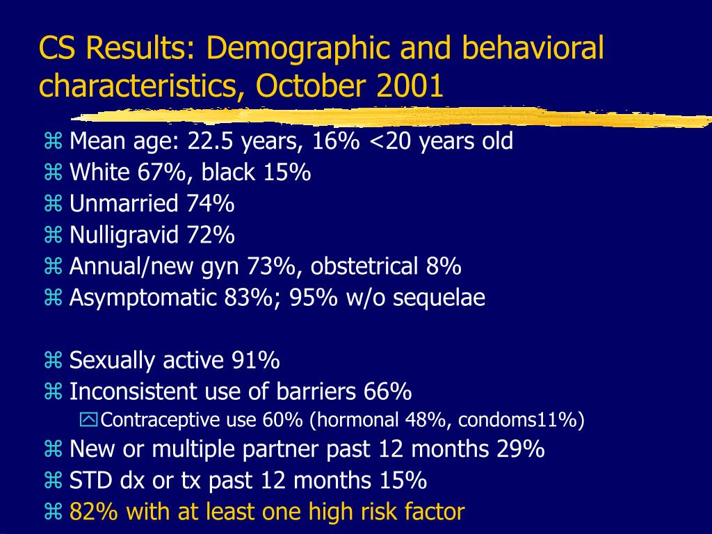 CS Results: Demographic and behavioral characteristics, October 2001