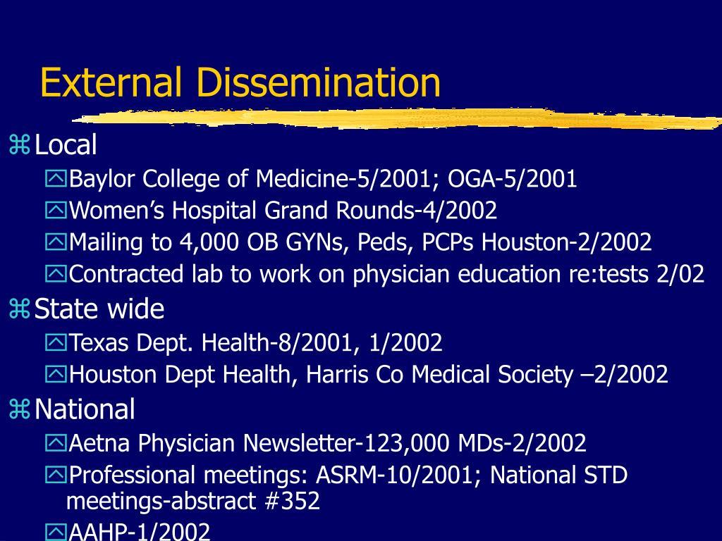 External Dissemination