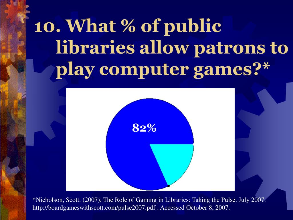 10. What % of public libraries allow patrons to play computer games?*