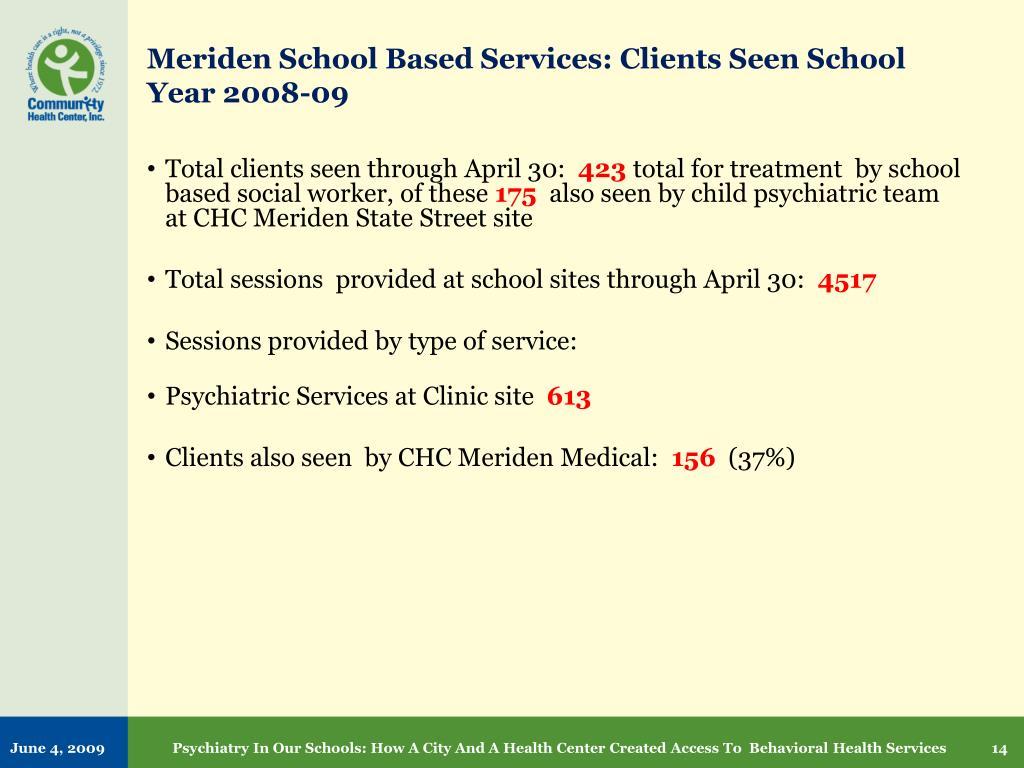 Meriden School Based Services: Clients Seen School Year 2008-09