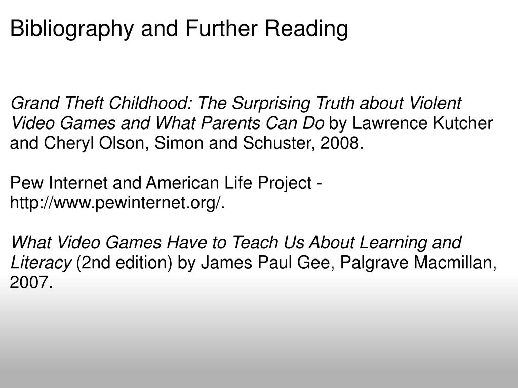 Bibliography and Further Reading