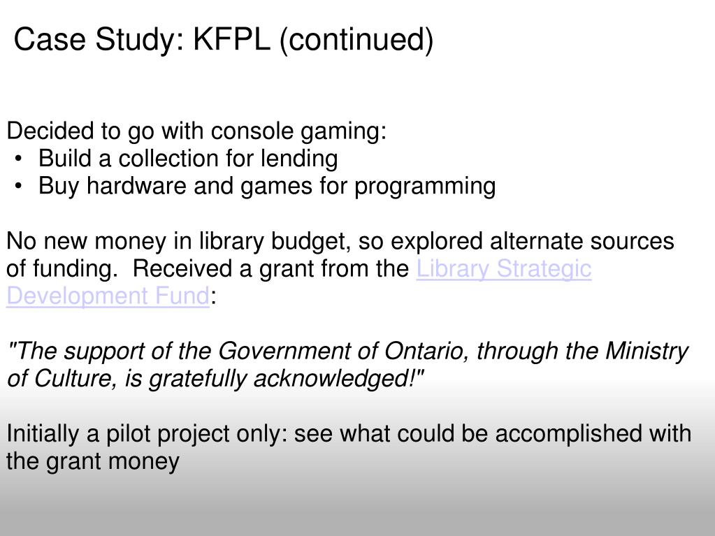 Case Study: KFPL (continued)