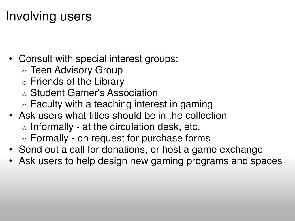 Involving users