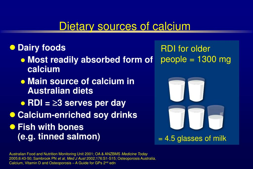 Dietary sources of calcium