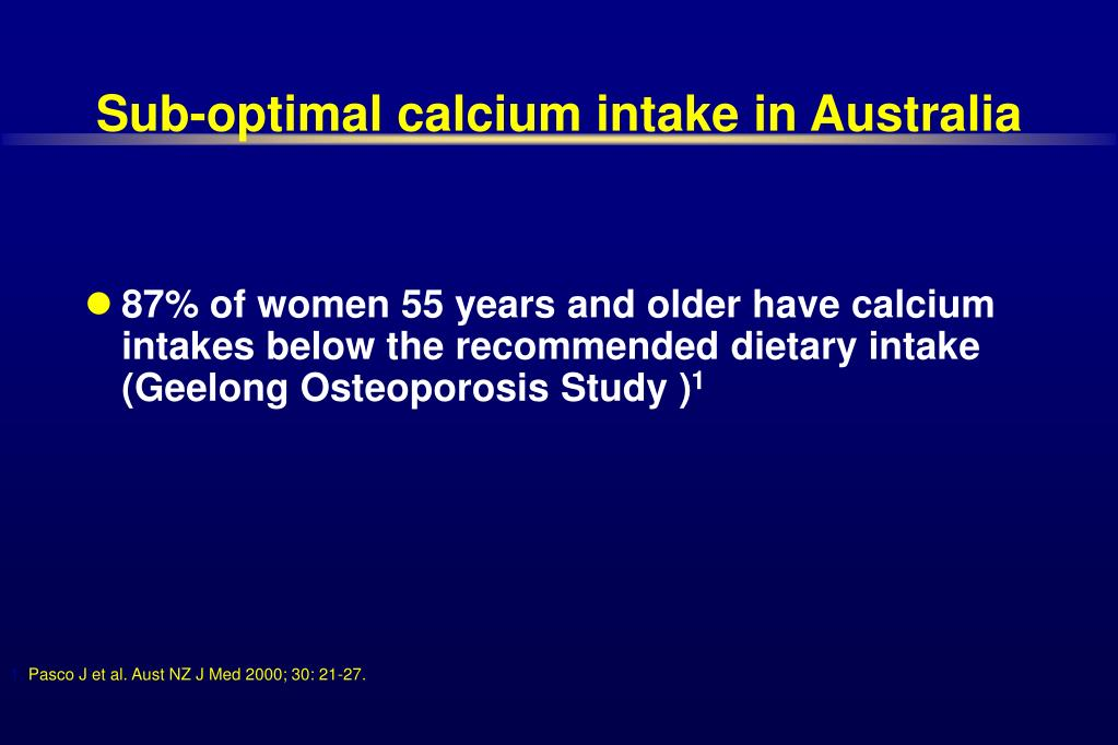 Sub-optimal calcium intake in Australia