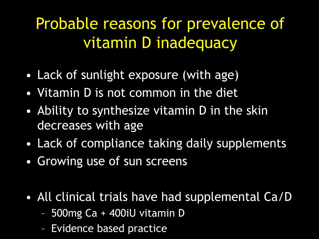 Probable reasons for prevalence of vitamin D inadequacy