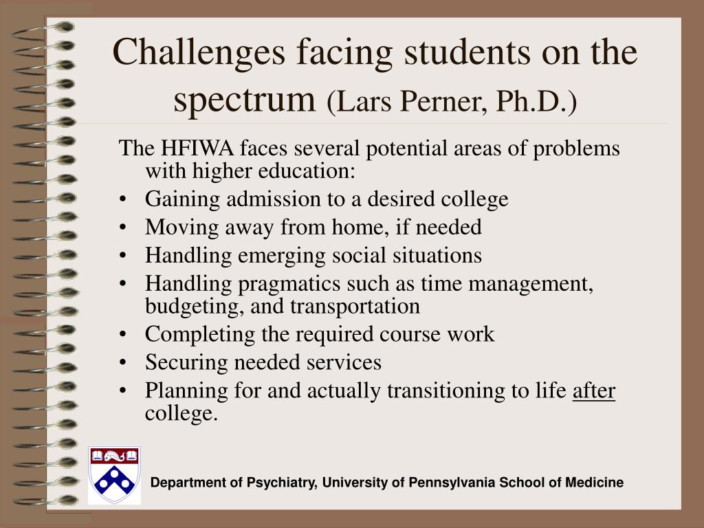 Challenges facing students on the spectrum