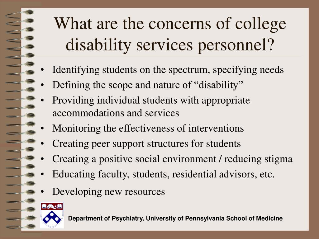 What are the concerns of college disability services personnel?