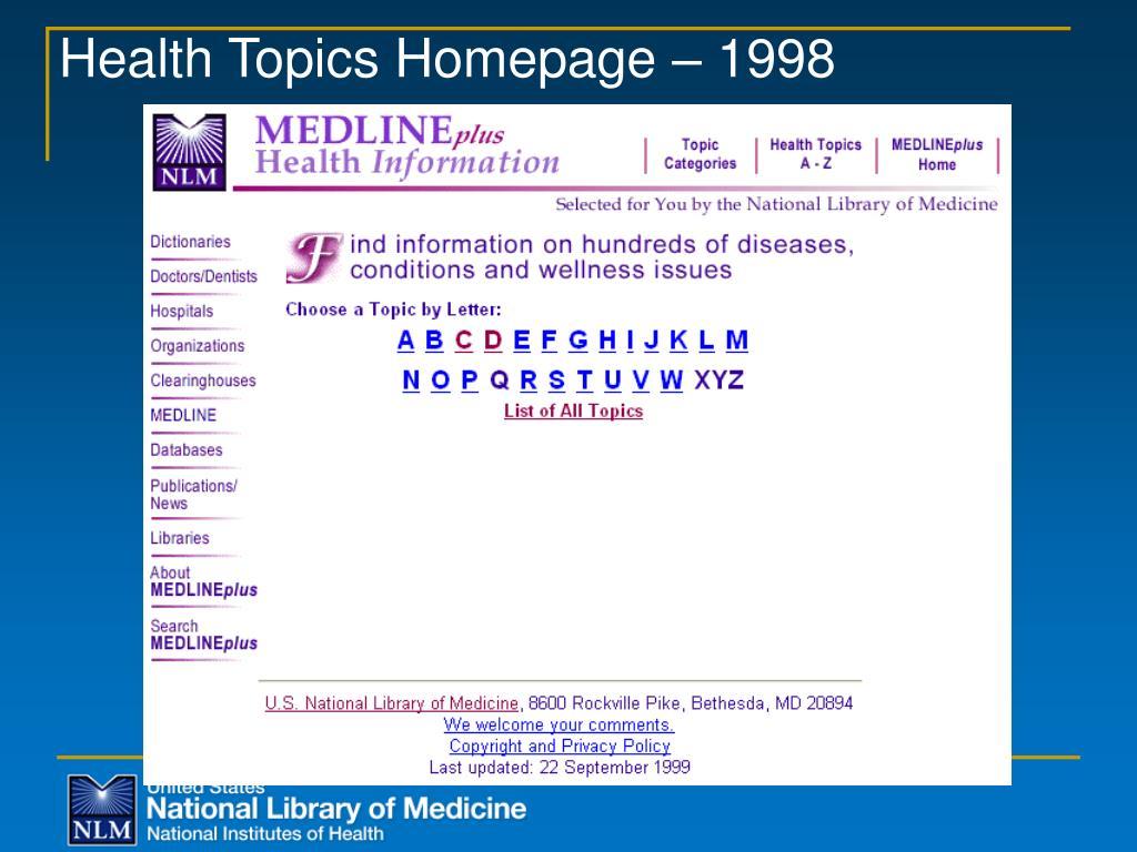 Health Topics Homepage – 1998