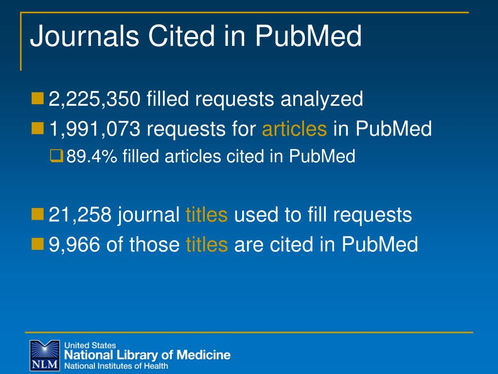 Journals Cited in PubMed