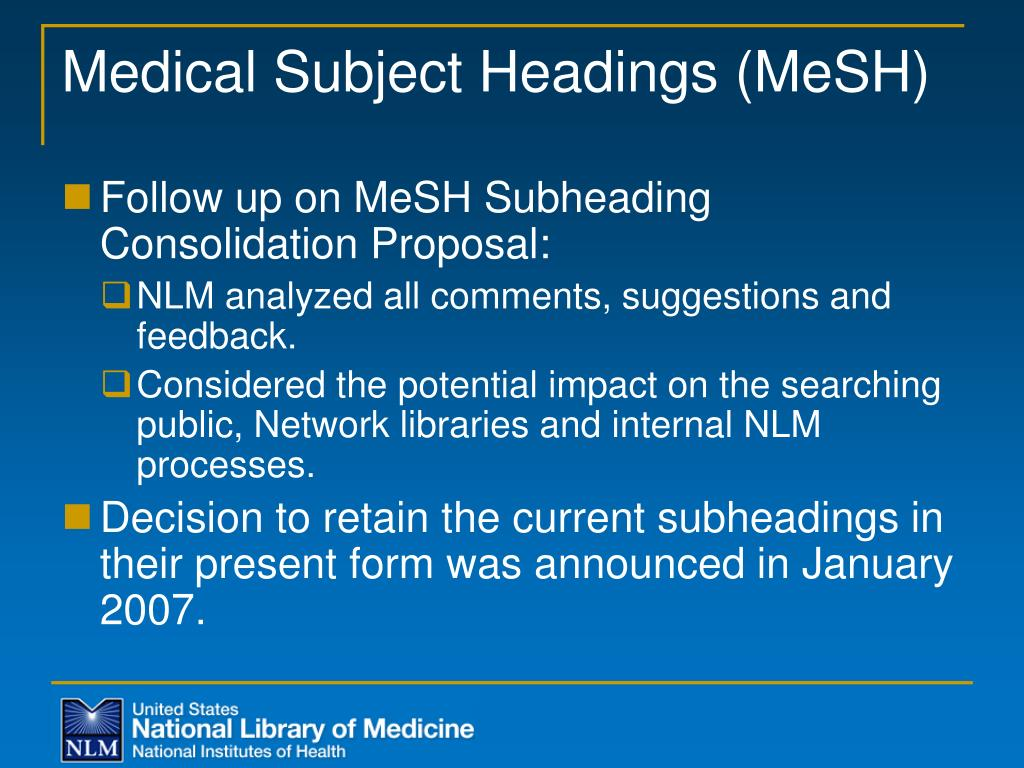 Medical Subject Headings (MeSH)