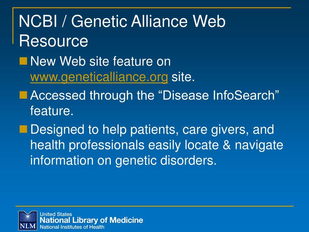 NCBI / Genetic Alliance Web Resource