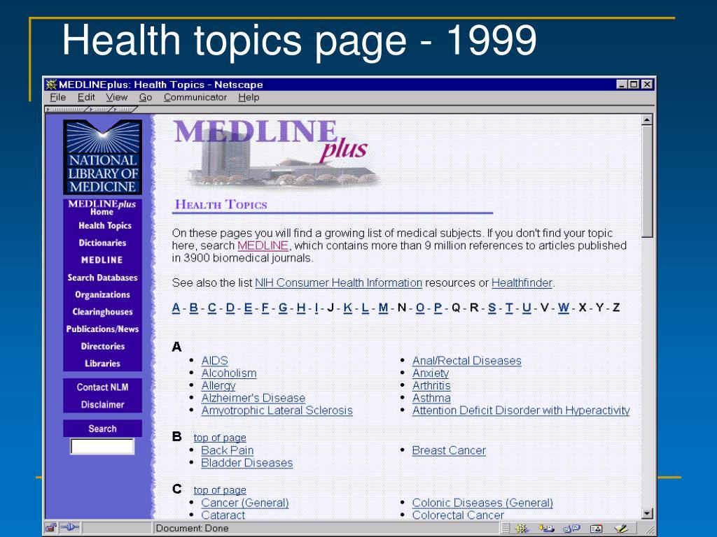 Health topics page - 1999