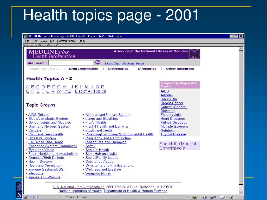 Health topics page - 2001