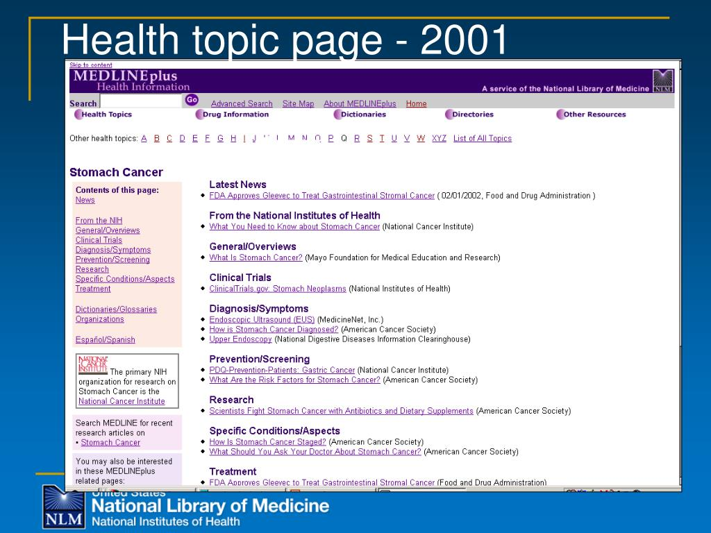 Health topic page - 2001