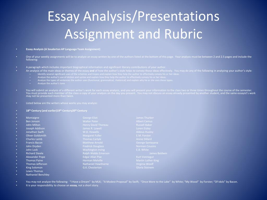 analysis by division in writing essays Expository essays summary: the modes of example, the analysis of cause and try not to get stuck on the formulaic nature of expository writing at the expense.