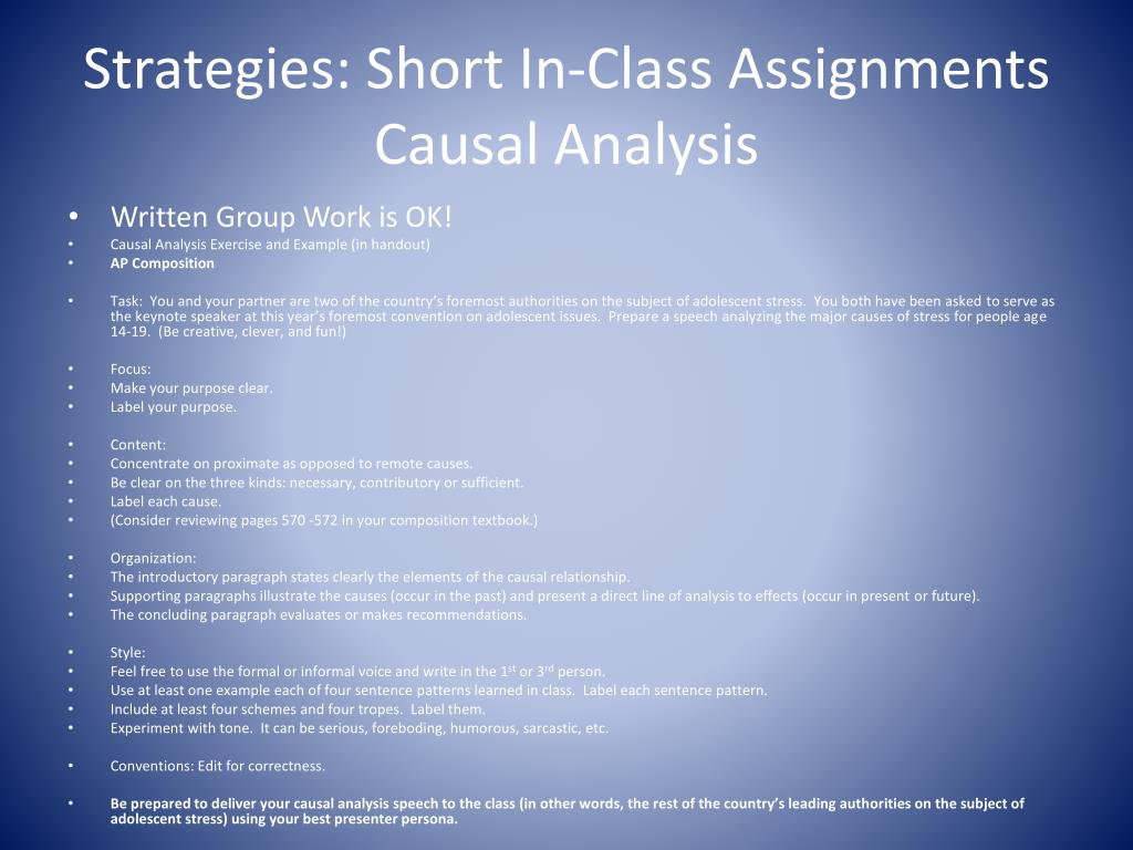How To Write A Causal Analysis Essay