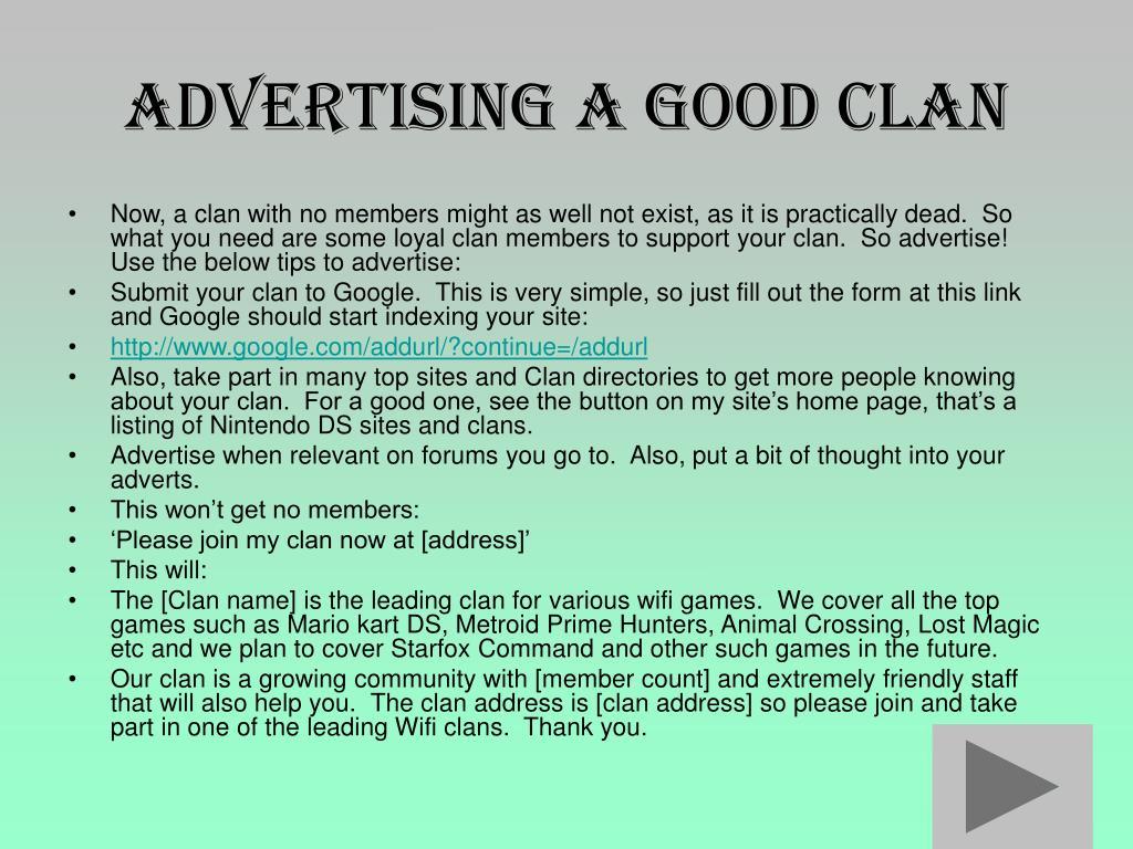 Advertising a Good Clan