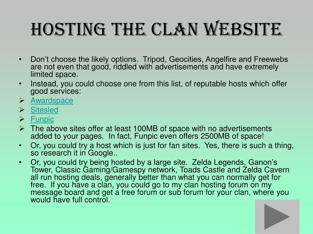 Hosting the Clan website