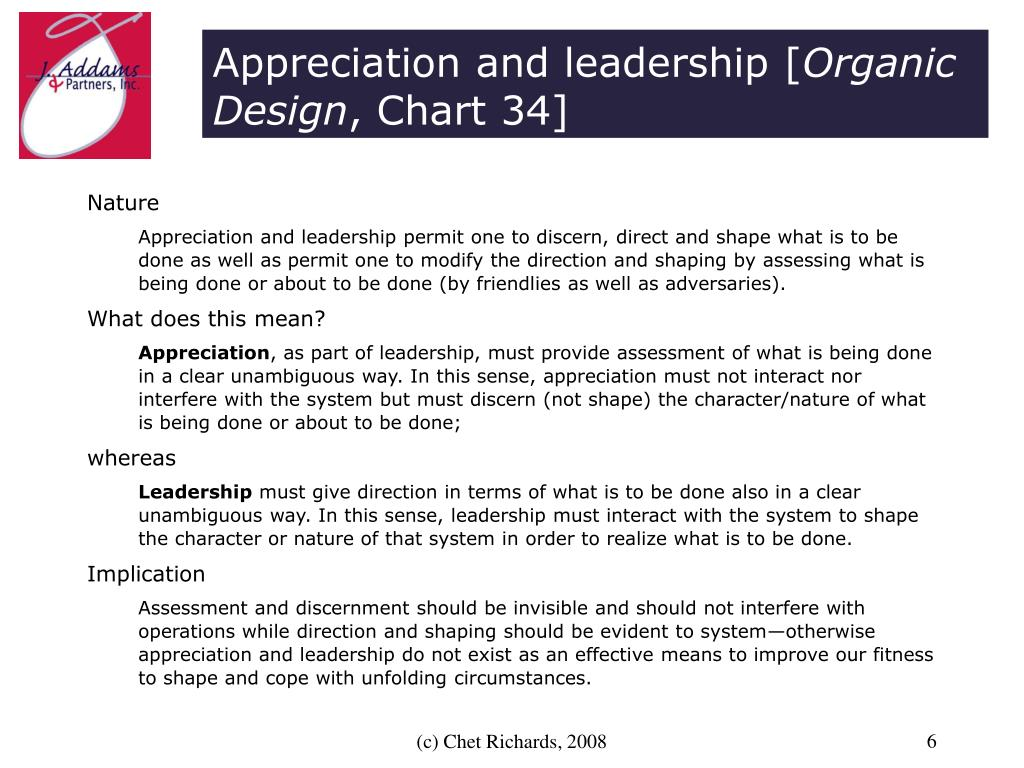 Appreciation and leadership [