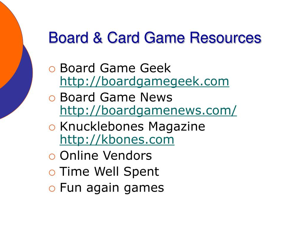 Board & Card Game Resources