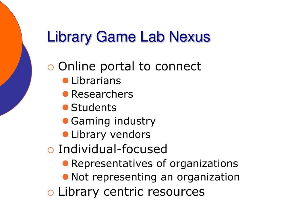 Library Game Lab Nexus