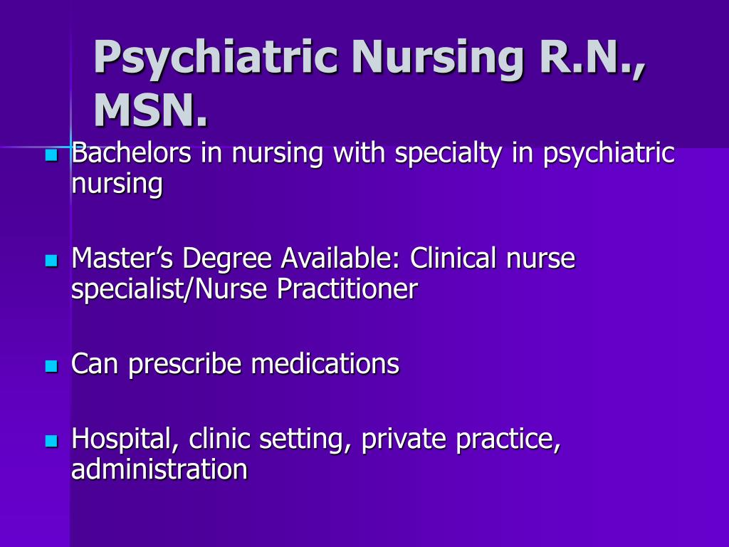 Psychiatric Nursing R.N., MSN.