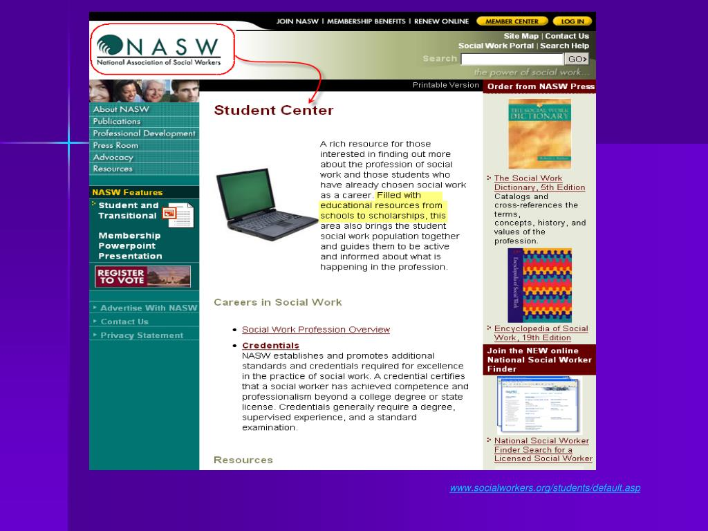 www.socialworkers.org/students/default.asp