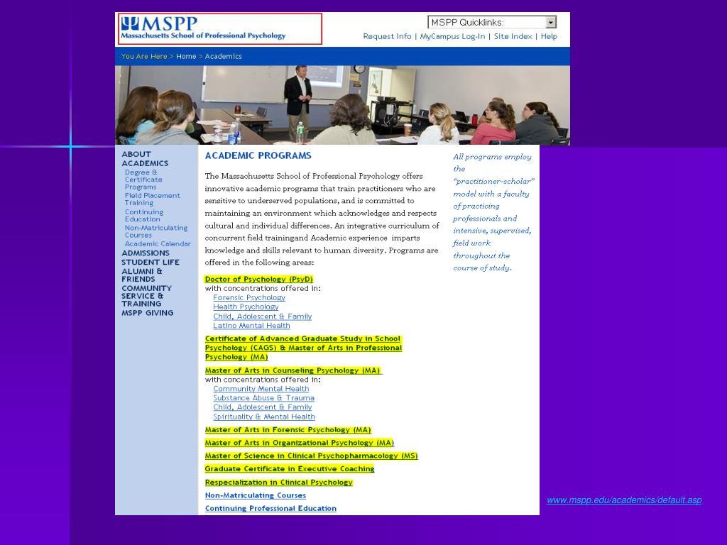 www.mspp.edu/academics/default.asp