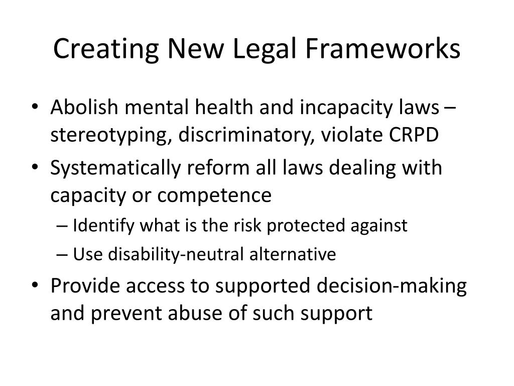 Creating New Legal Frameworks