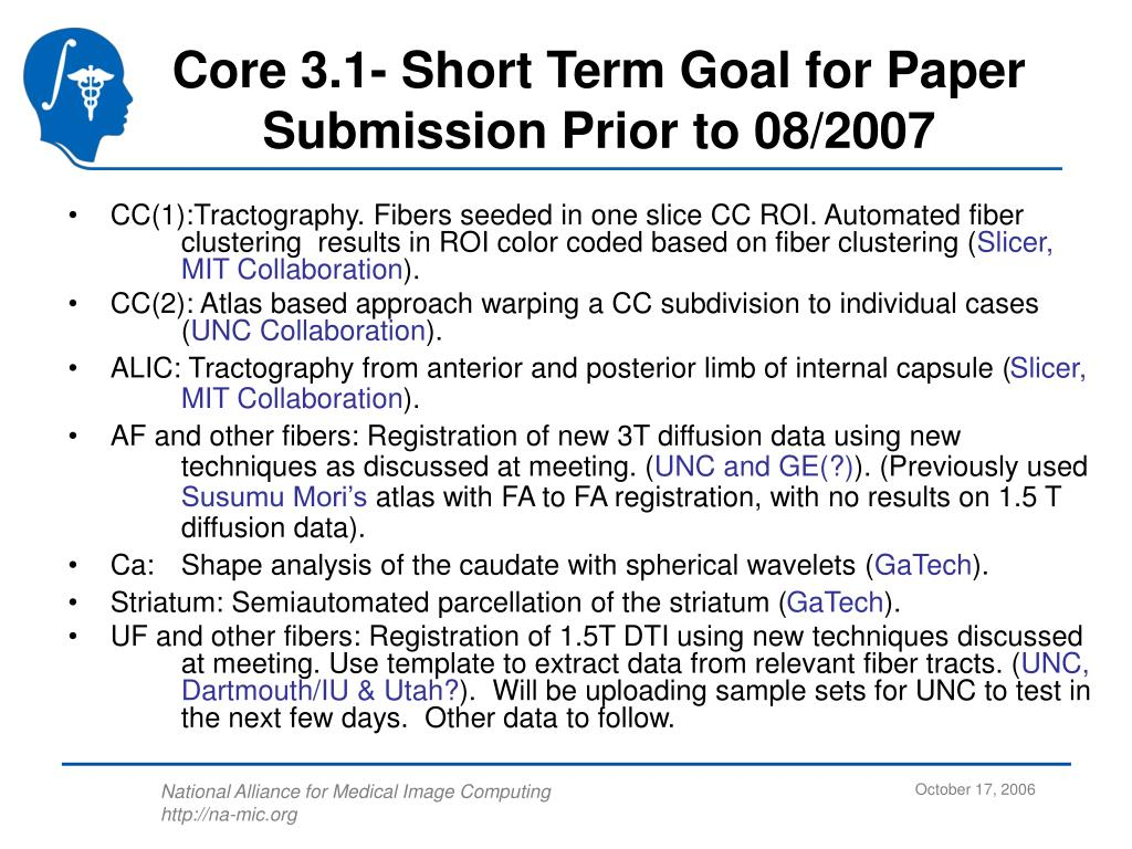 Core 3.1- Short Term Goal for Paper Submission Prior to 08/2007