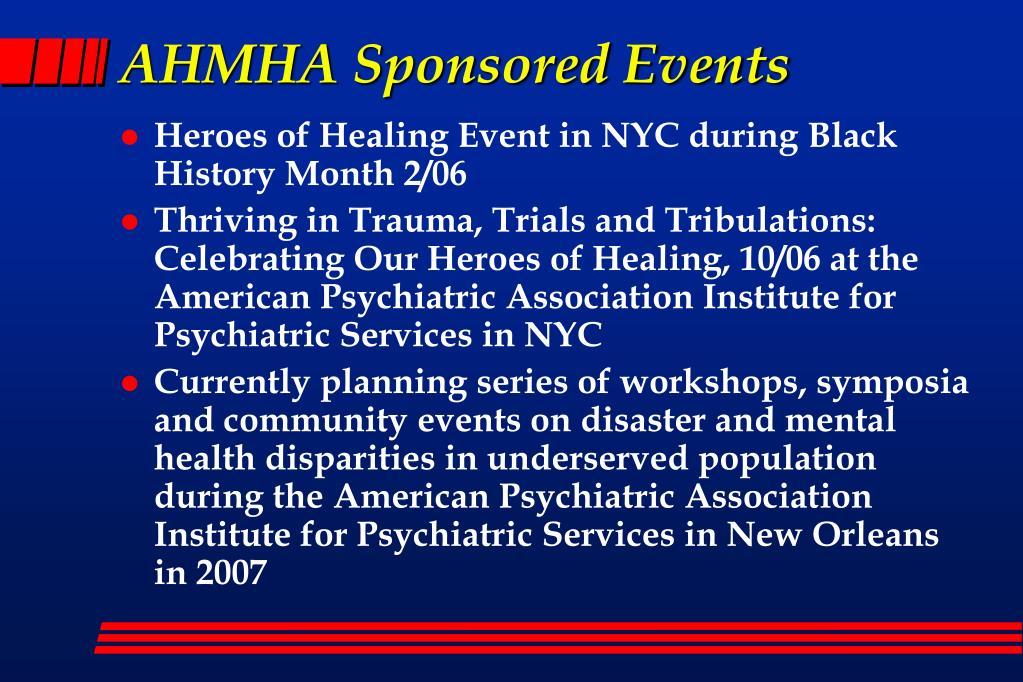AHMHA Sponsored Events