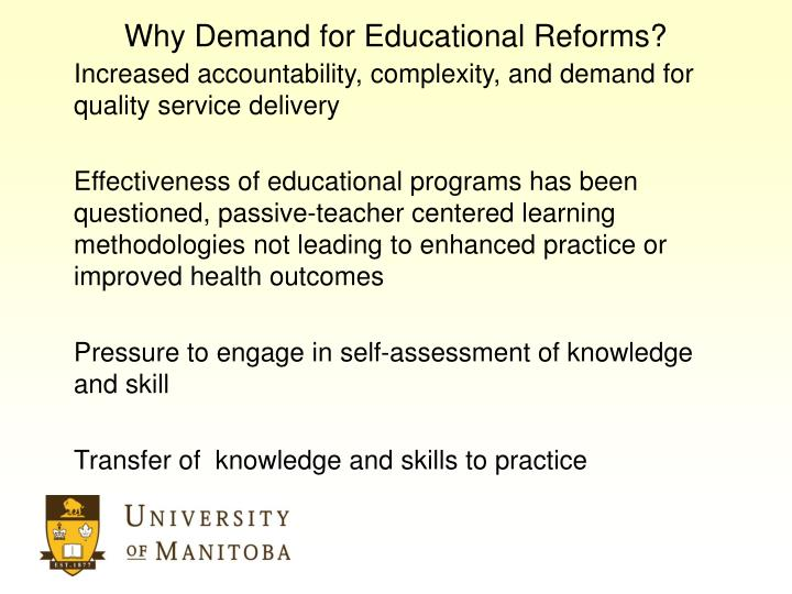 Why demand for educational reforms