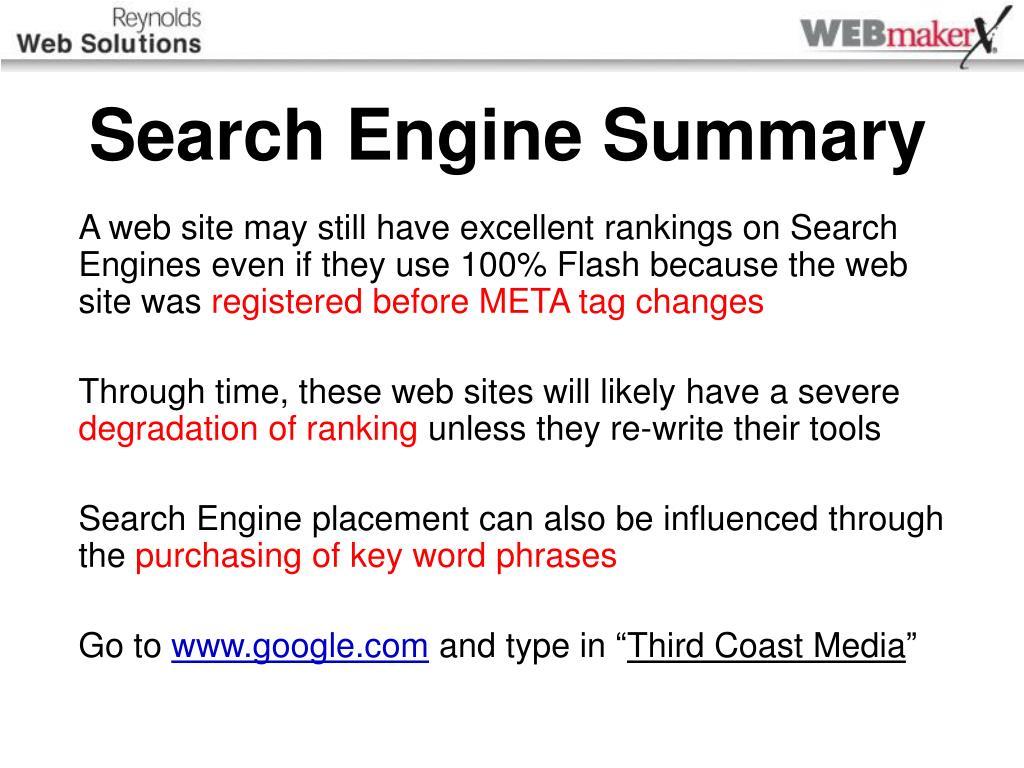 Search Engine Summary