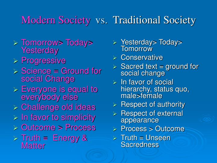 Modern society vs traditional society
