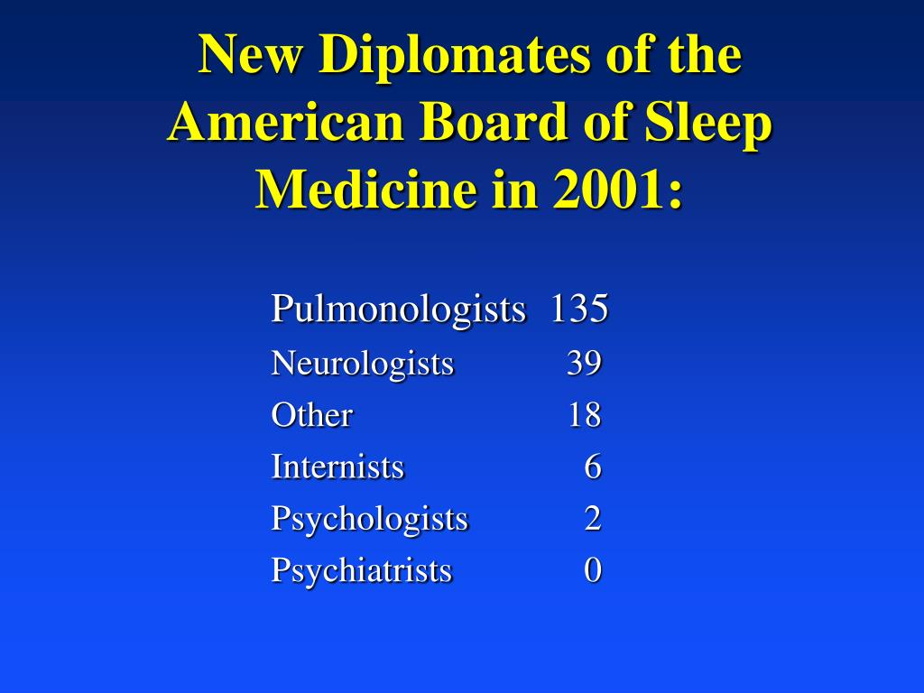 New Diplomates of the American Board of Sleep Medicine in 2001: