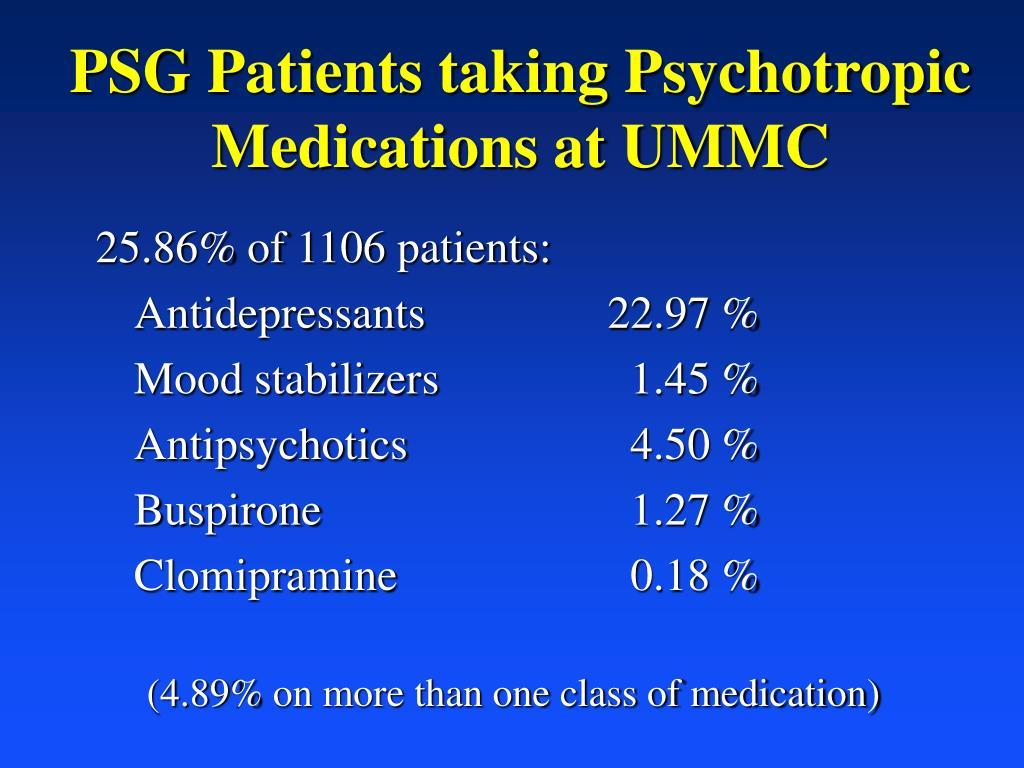 PSG Patients taking Psychotropic Medications at UMMC