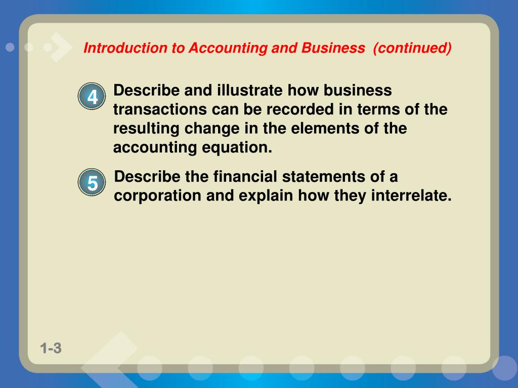 describe the accounting equation An accounting transaction is a business activity or event that causes a  measurable change in the accounting equation an exchange of cash for  merchandise is.