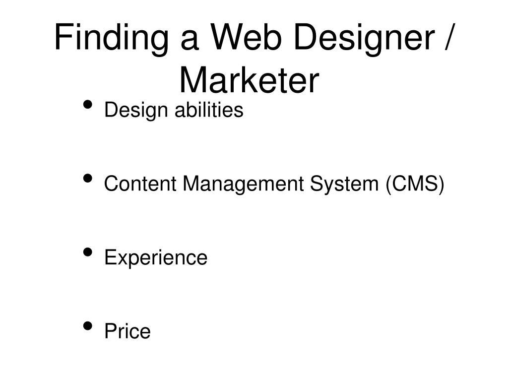 Finding a Web Designer / Marketer