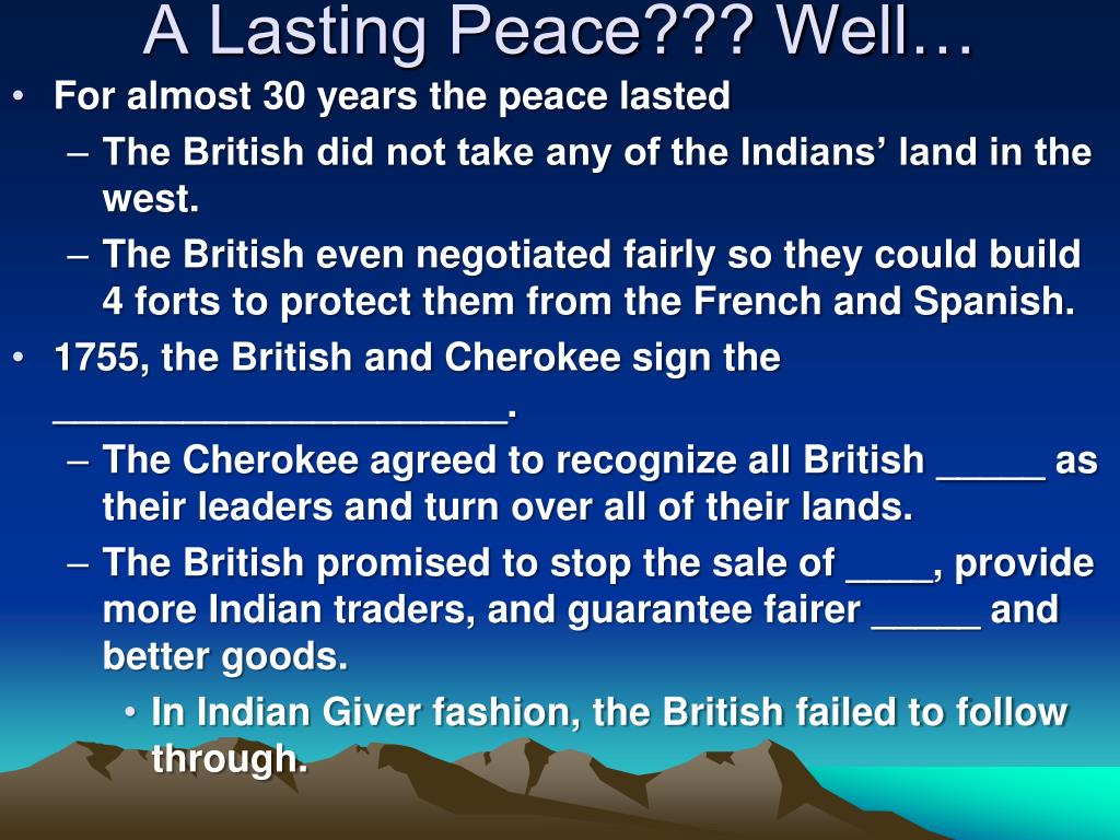 A Lasting Peace??? Well…