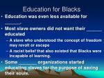 education for blacks