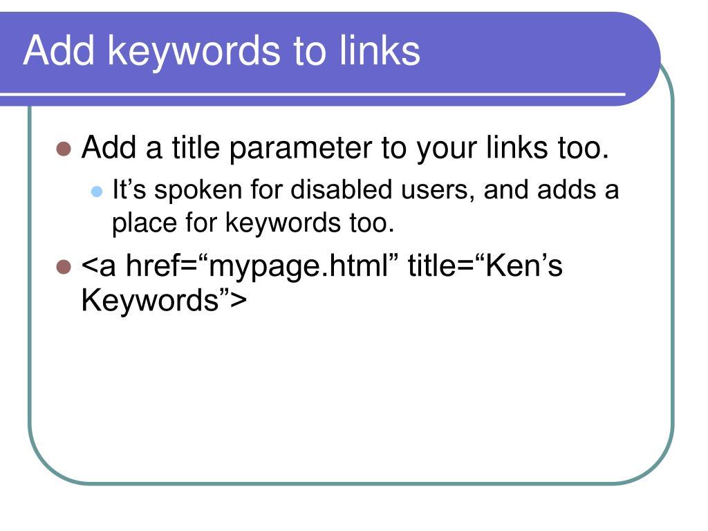 Add keywords to links