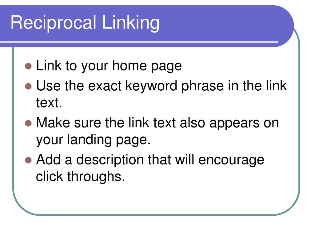 Reciprocal Linking
