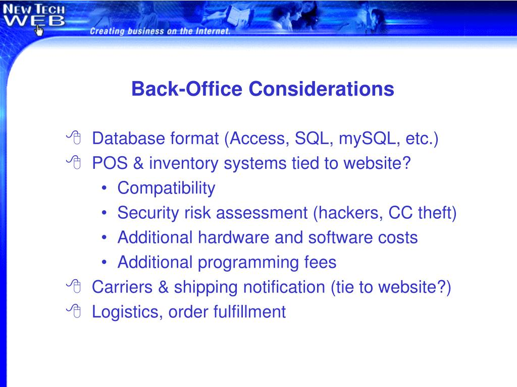 Back-Office Considerations